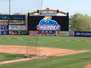 The brand new video board in right-field in Trenton, N.J.
