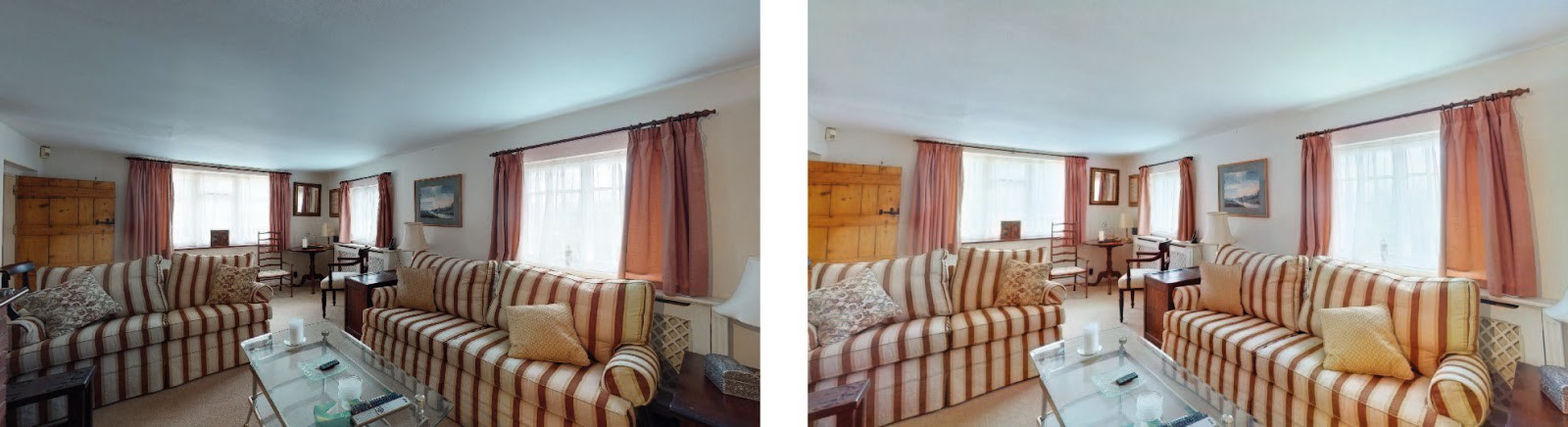 Interior shot: photo before enhancement on the left, and after Autoenhance.ai photo enhancement on the right.