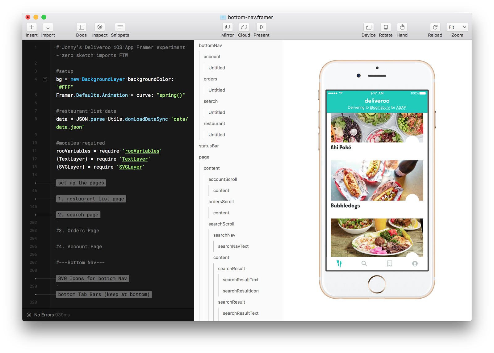 Rebuilding a version of our restaurant list with live data entirely in Framer