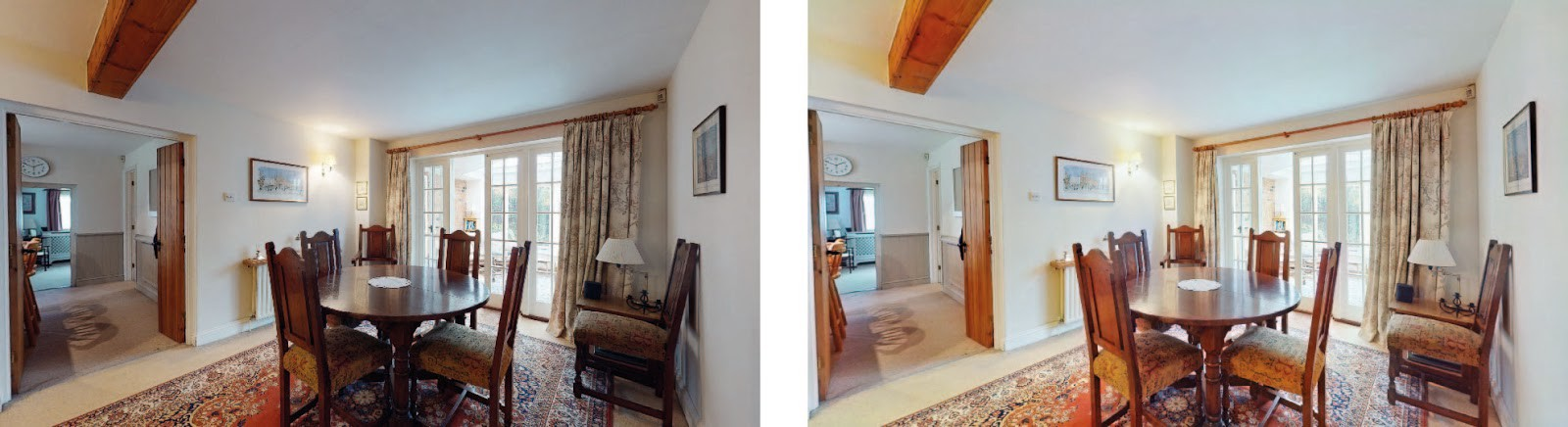 Interior shots: photos before enhancement on the left, and after Autoenhance.ai photo enhancement on the right.
