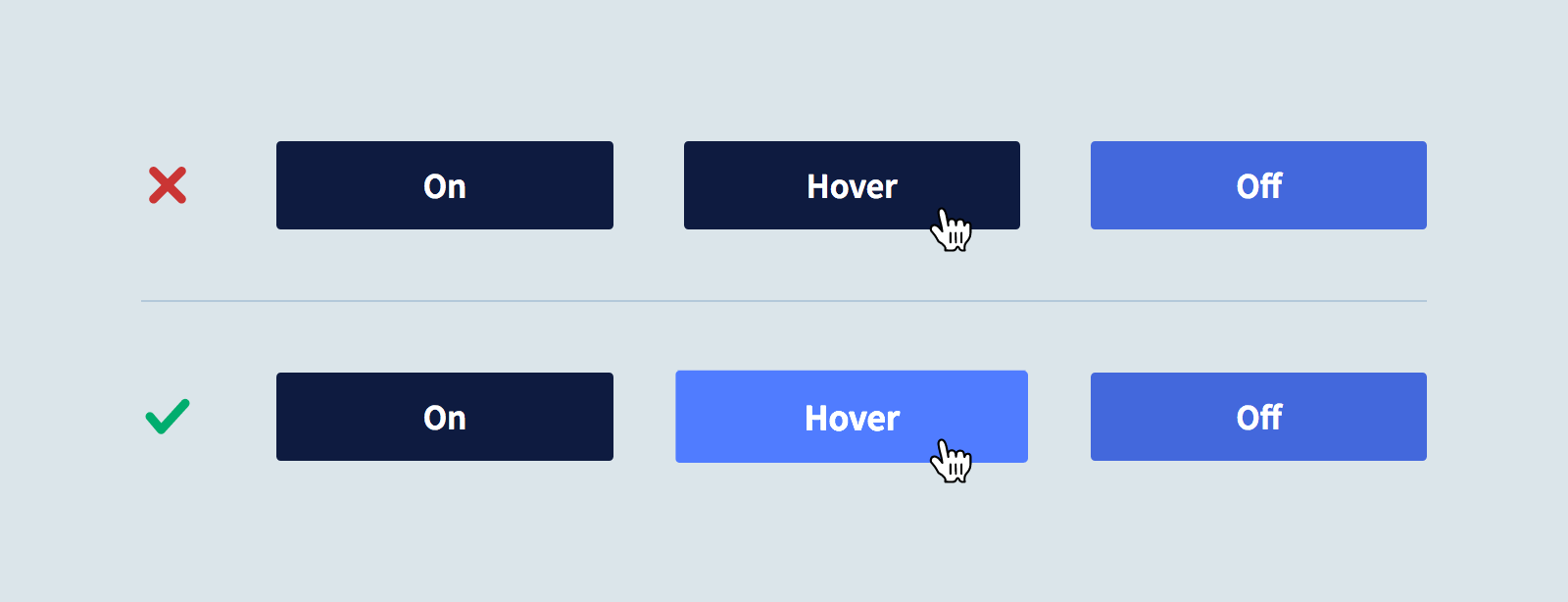 A button with different visual states