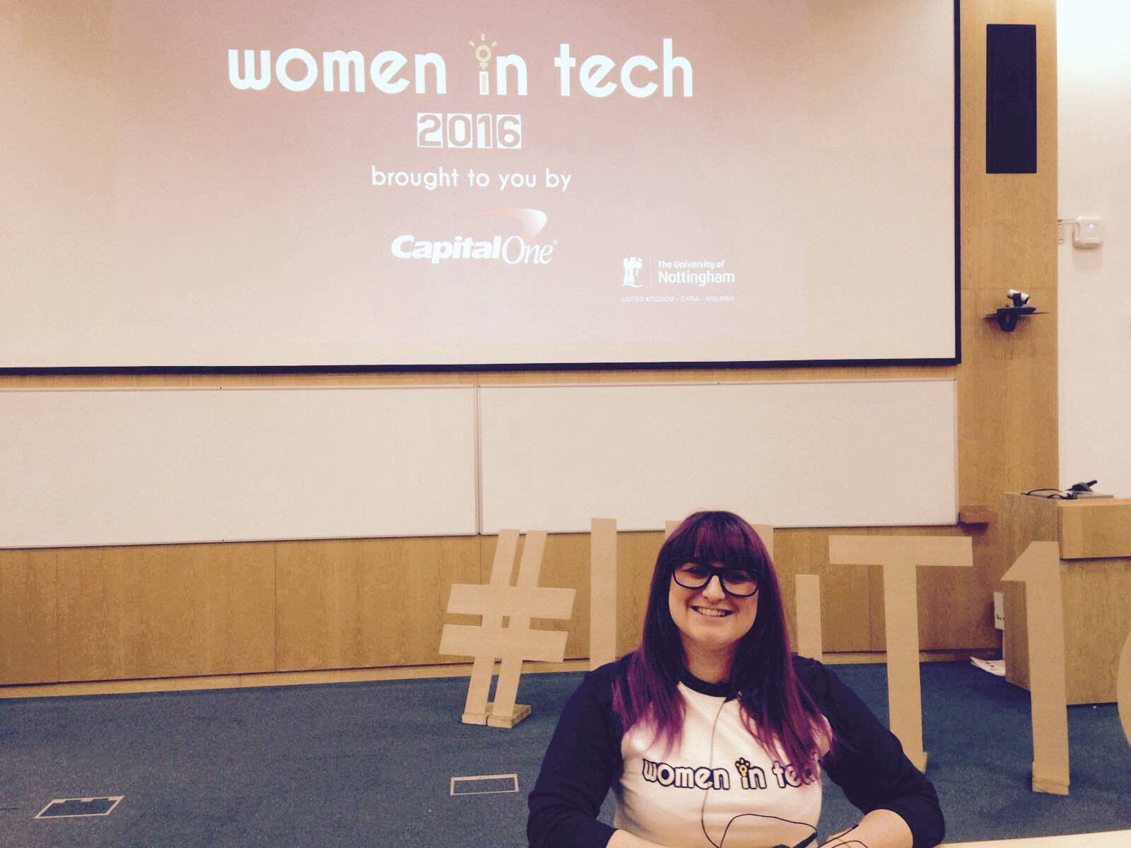 Here I am, standing at the front of the lecture space where we had the InspireWiT 2016 talks.
