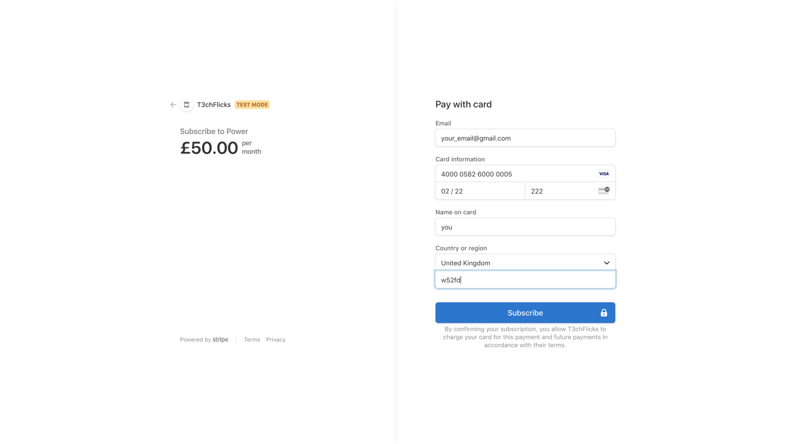 Stripe Checkout Page for Power Subscription