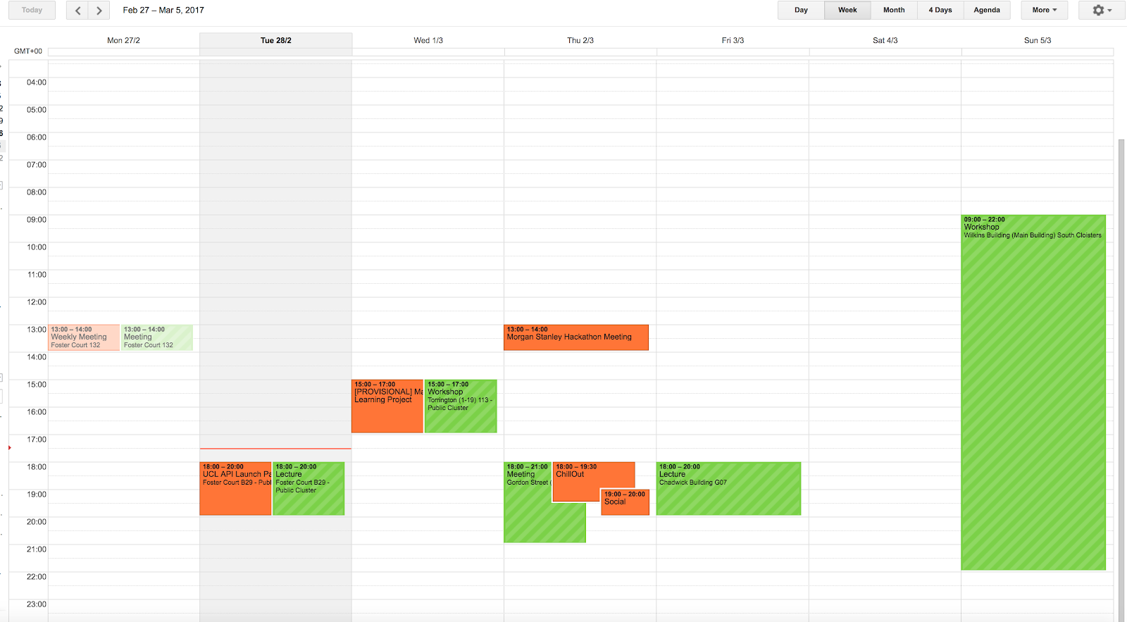 UCL Room bookings in Google Calendar (green)