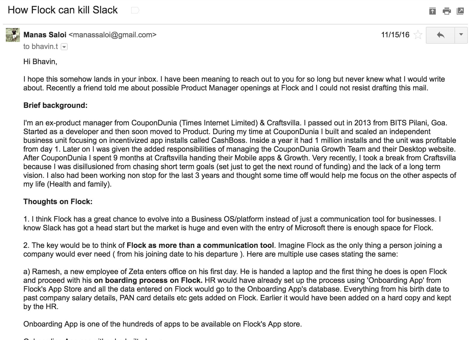 first part of the mail/pitch