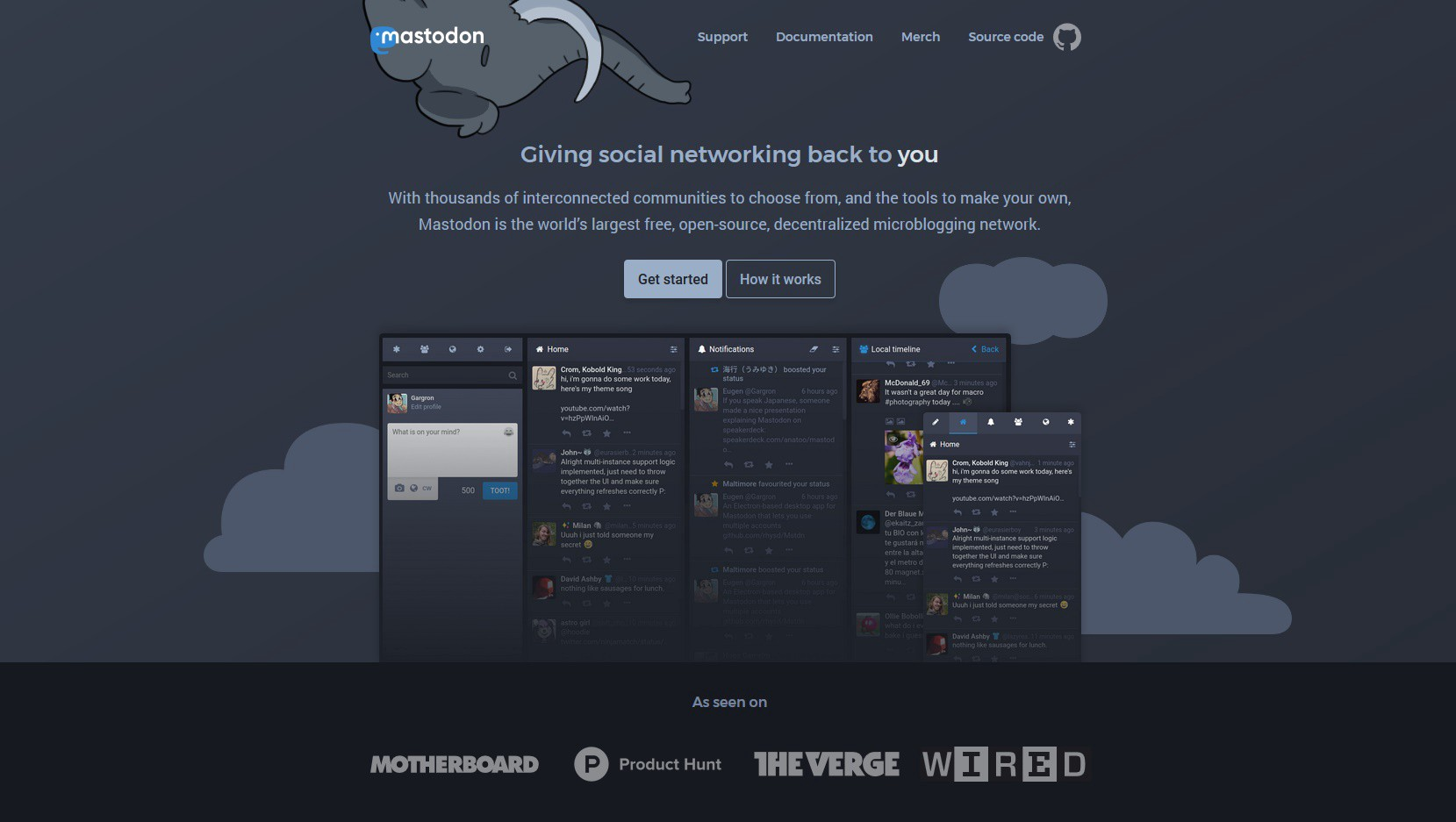 *Giving social networking back to you*. From: <https://docs.joinmastodon.org/>