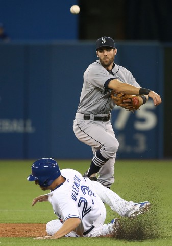 TORONTO, CANADA - MAY 22: Chris Taylor #1 of the Seattle Mariners turns a double play as Robinson Cano #22 looks on in the fifth inning during MLB game action as Danny Valencia #23 of the Toronto Blue Jays slides into second base on May 22, 2015 at Rogers Centre in Toronto, Ontario, Canada. (Photo by Tom Szczerbowski/Getty Images)