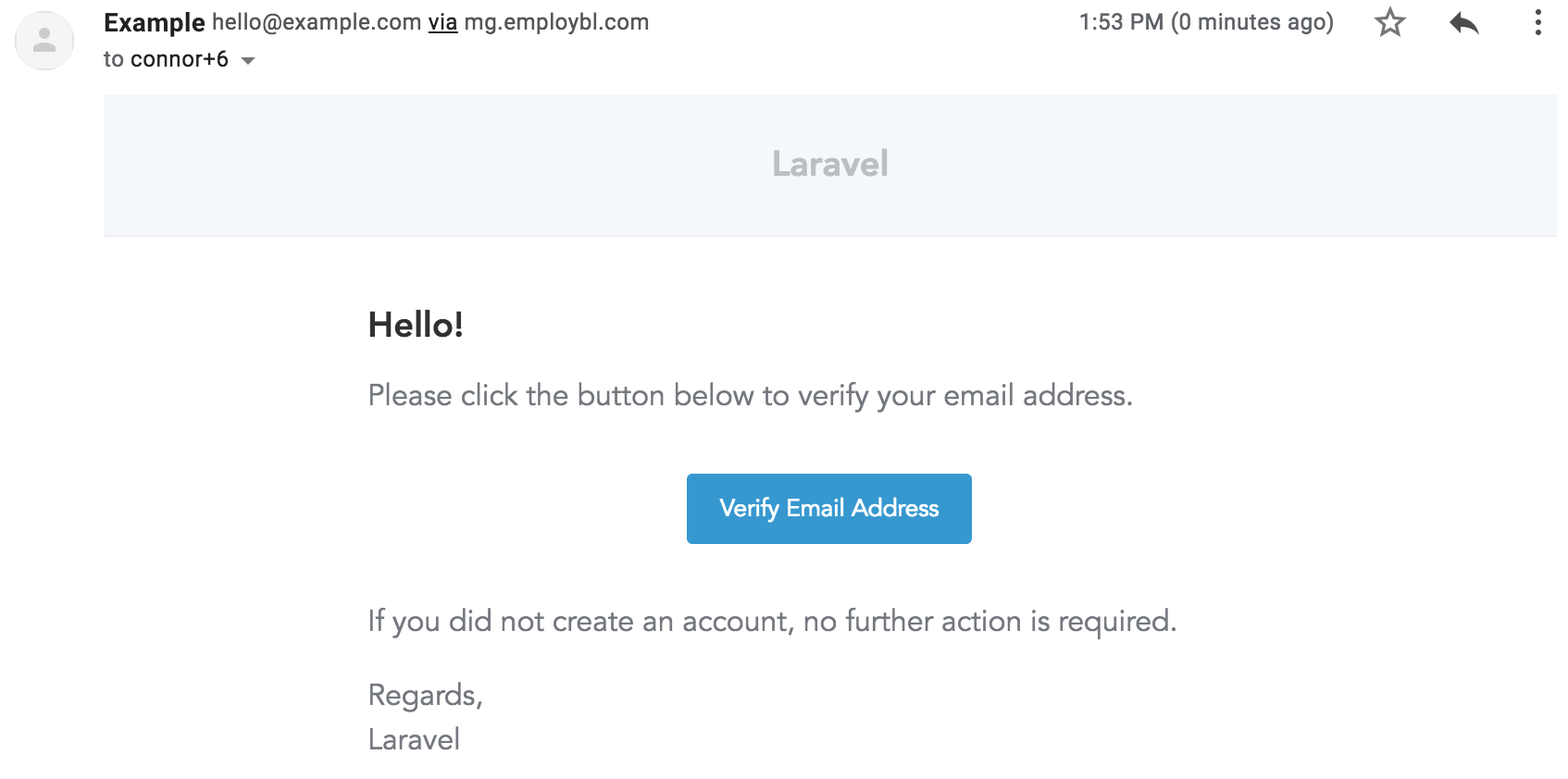 Default verification email sent to the user after they register.