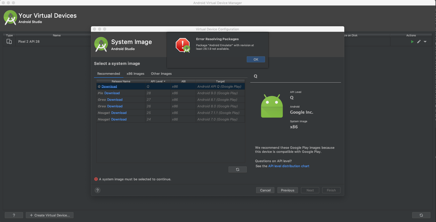 Android Studio — Unable to download Q release