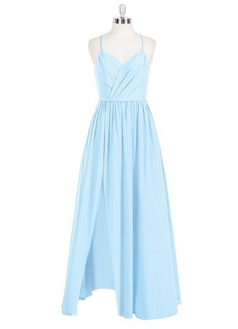 a2976114f26 Sky blue Azazie Cora — V Neck Floor Length Chiffon Back Zip