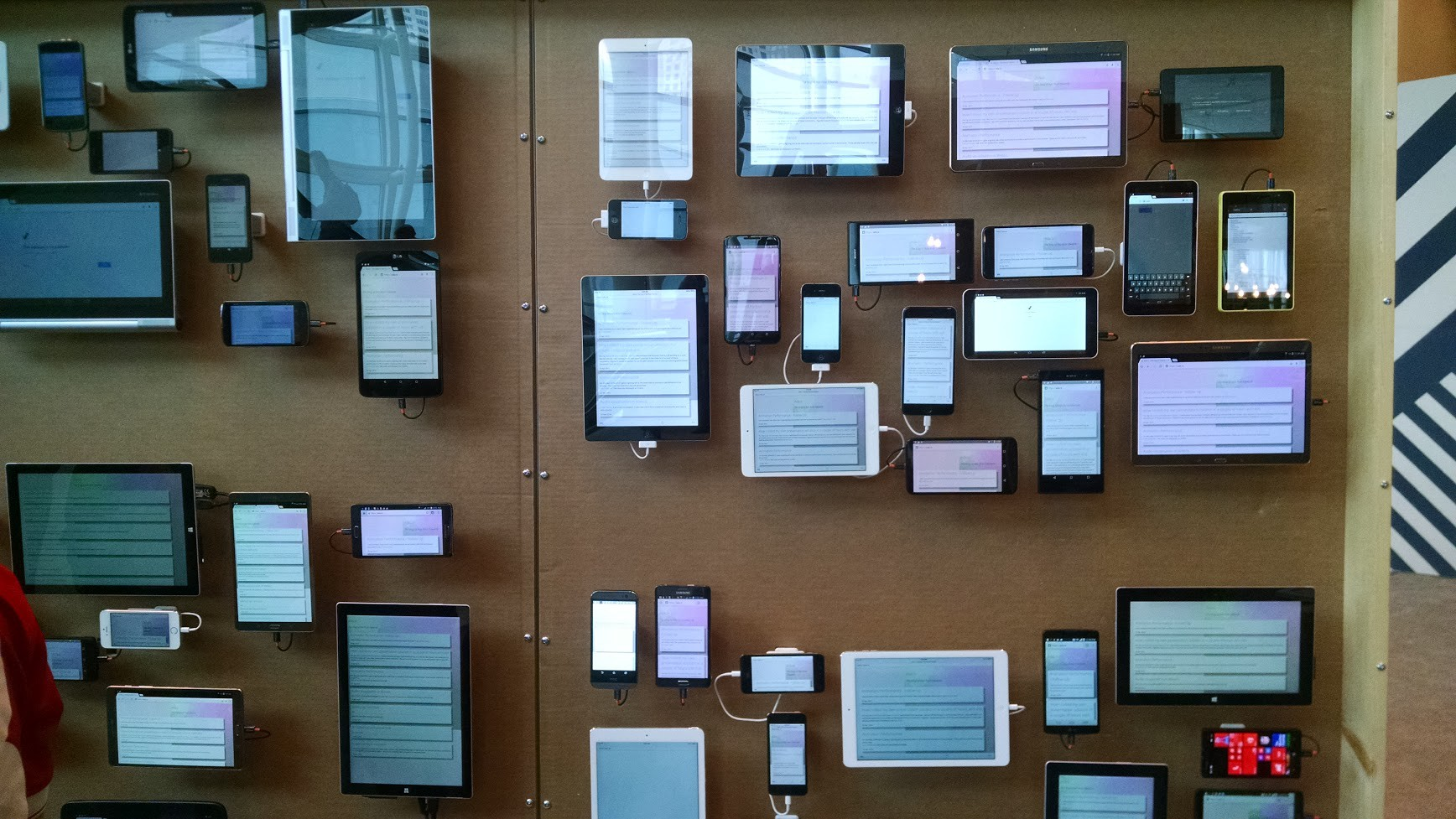 Photo of a device testing wall from Google IO 2015 photo © Ada Rose Cannon