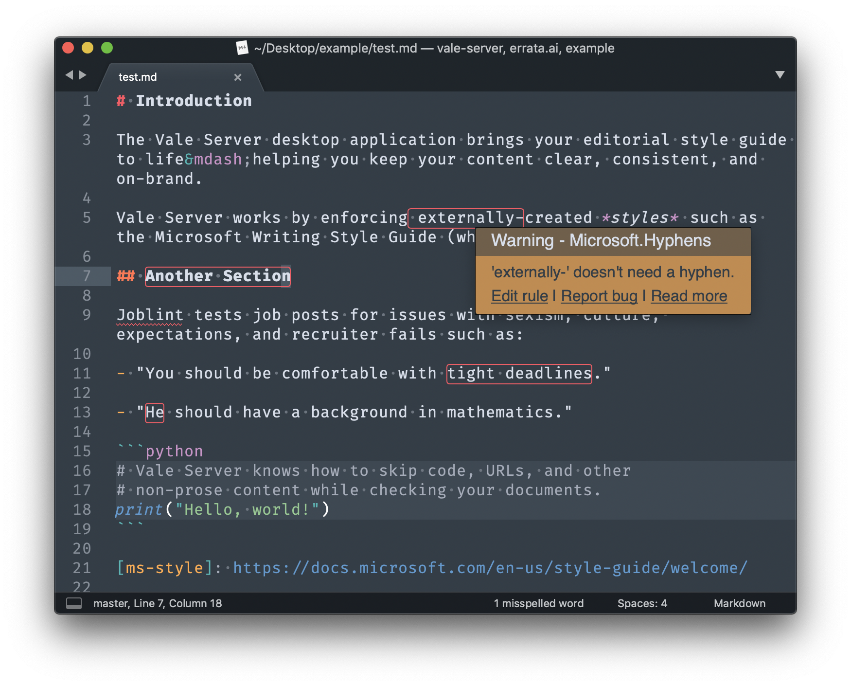 Clients (Sublime Text 3 shown above) have rich support for Vale Server and its resources.