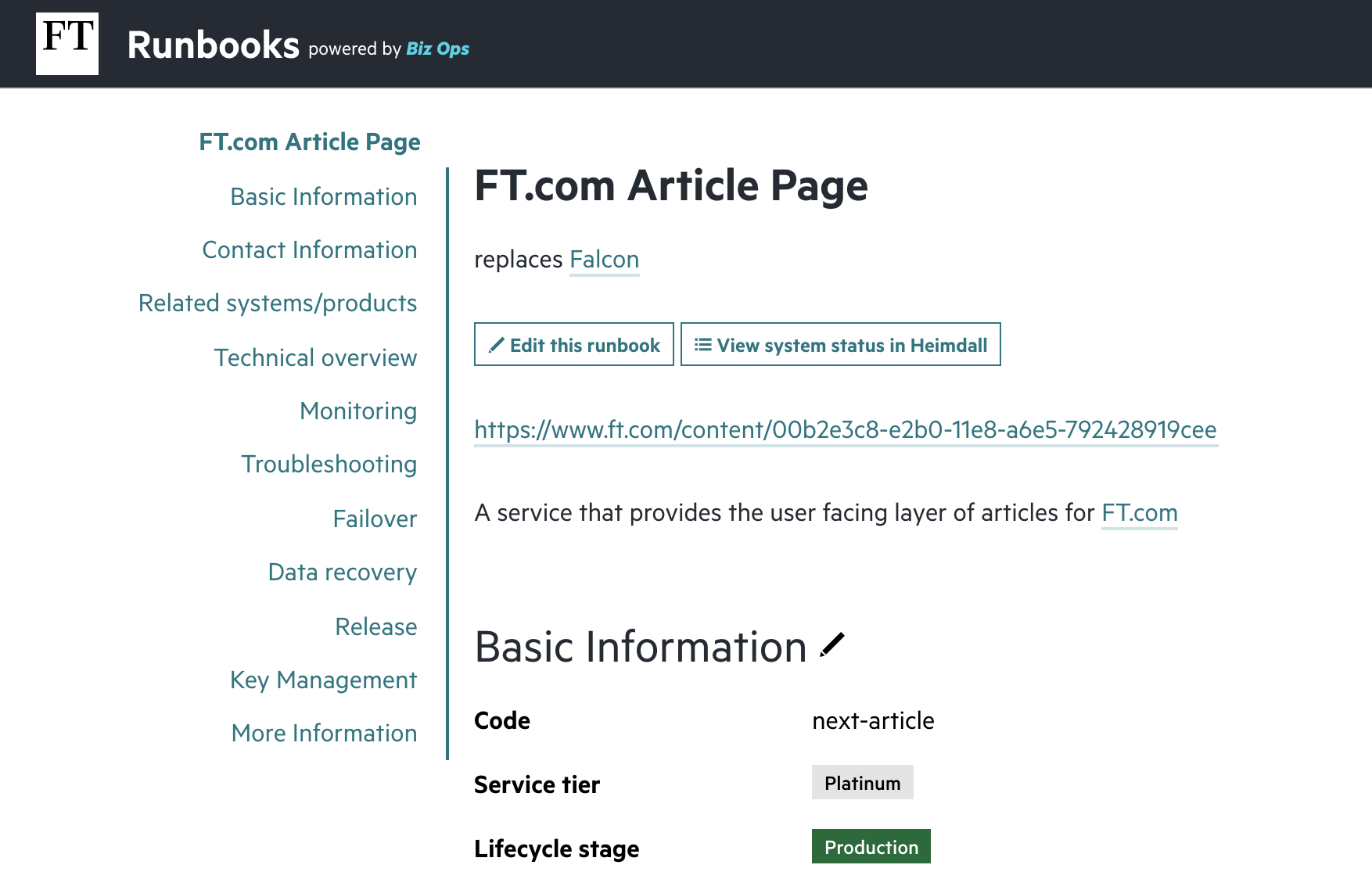 Part of an existing FT.com runbook