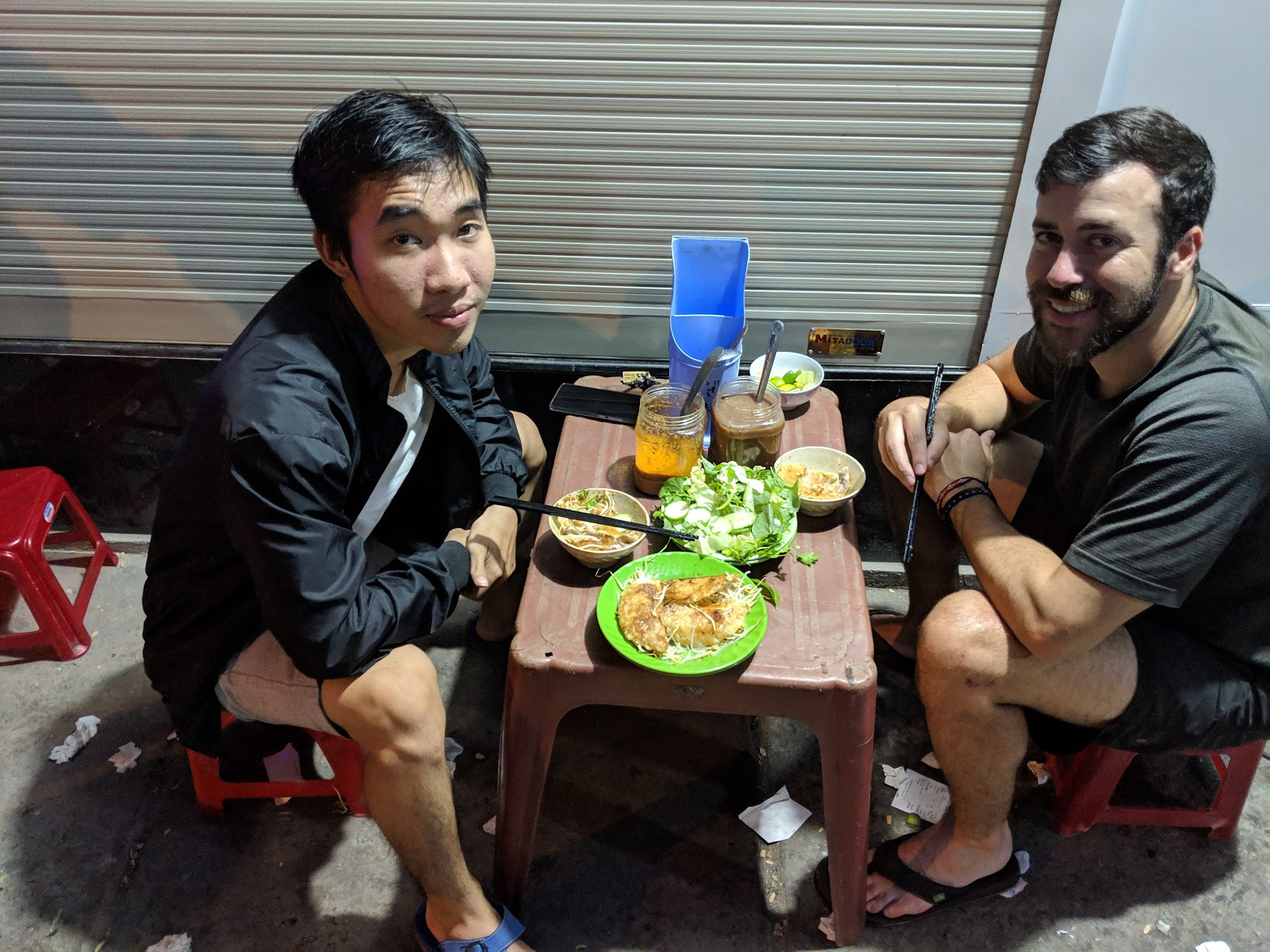 Eating Delicious meals in Vietnam. All ranging from $1-$2.