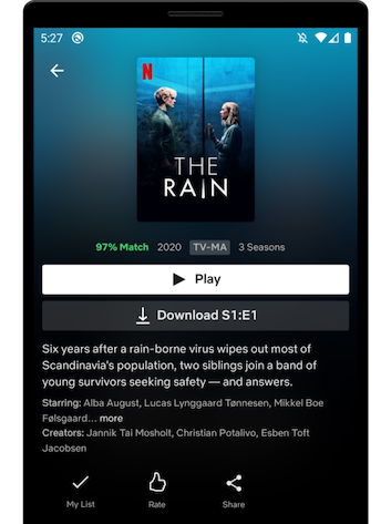 Screenshot from the Netflix Android app