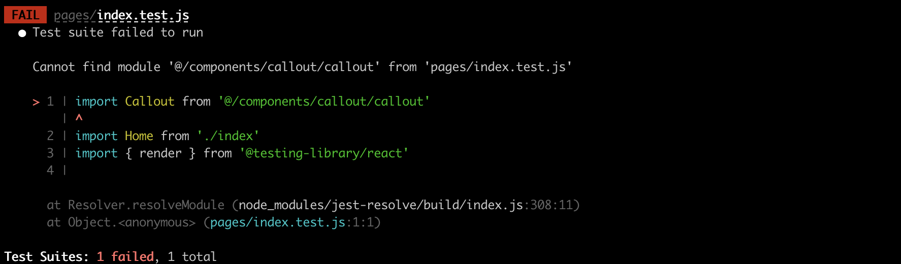 Cannot find module '@/components/callout/callout' from 'pages/index.test.js'