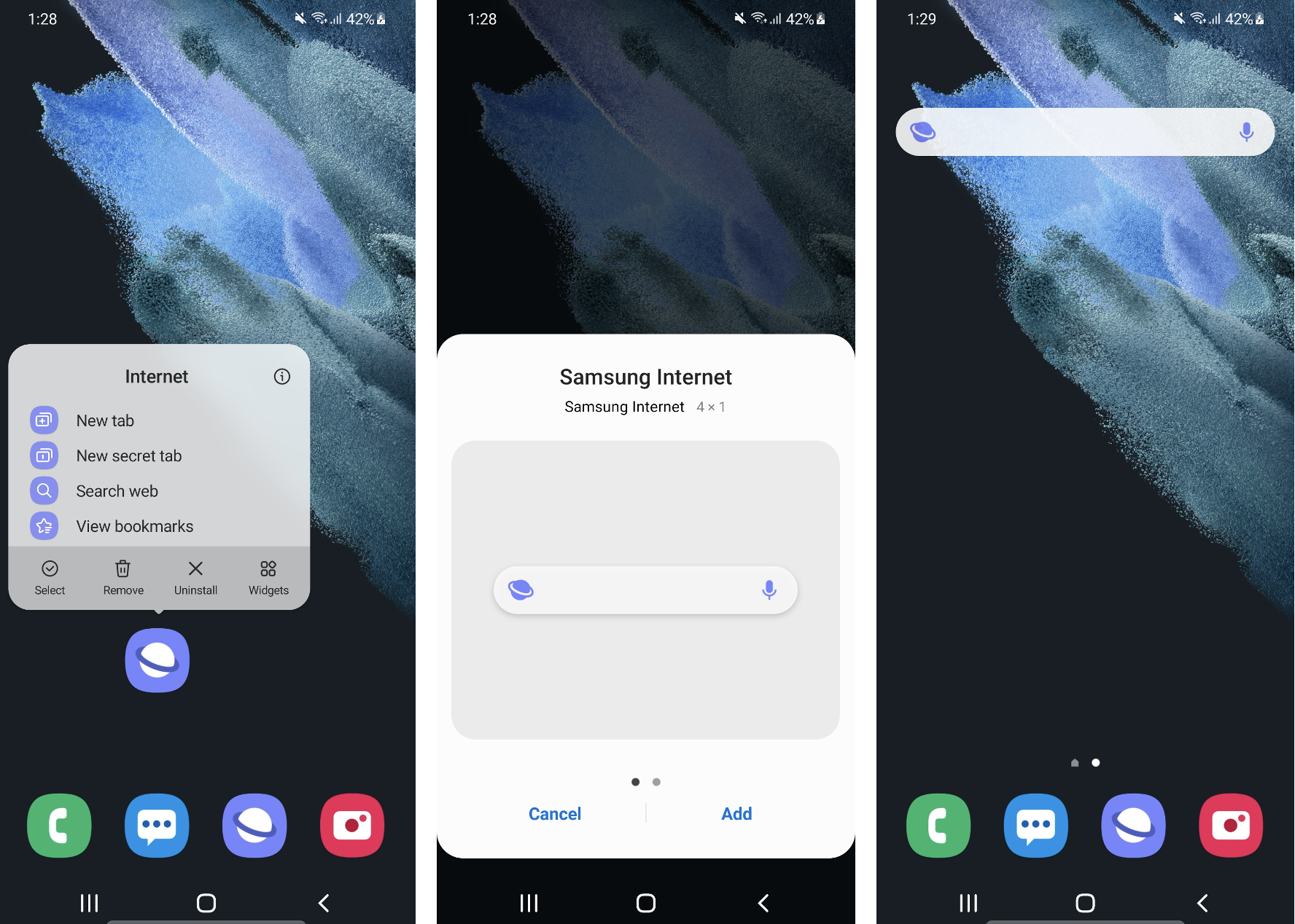 """Adding the search widget to your home screen: long-press the Samsung Internet icon and select """"widgets."""" You will then be prompted to Add the search widget to your device's homescreen."""