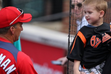 Washington Nationals manager Jim Riggleman (5) and an Orioles fan
