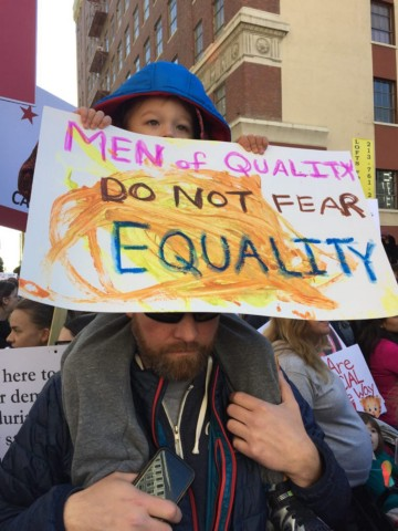 father and son at Women's March