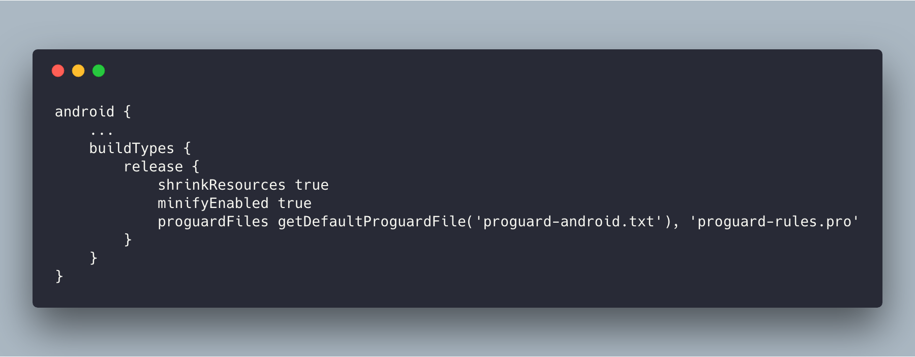 build.gradle file with shrinkResources and minifyEnabled properties enabled