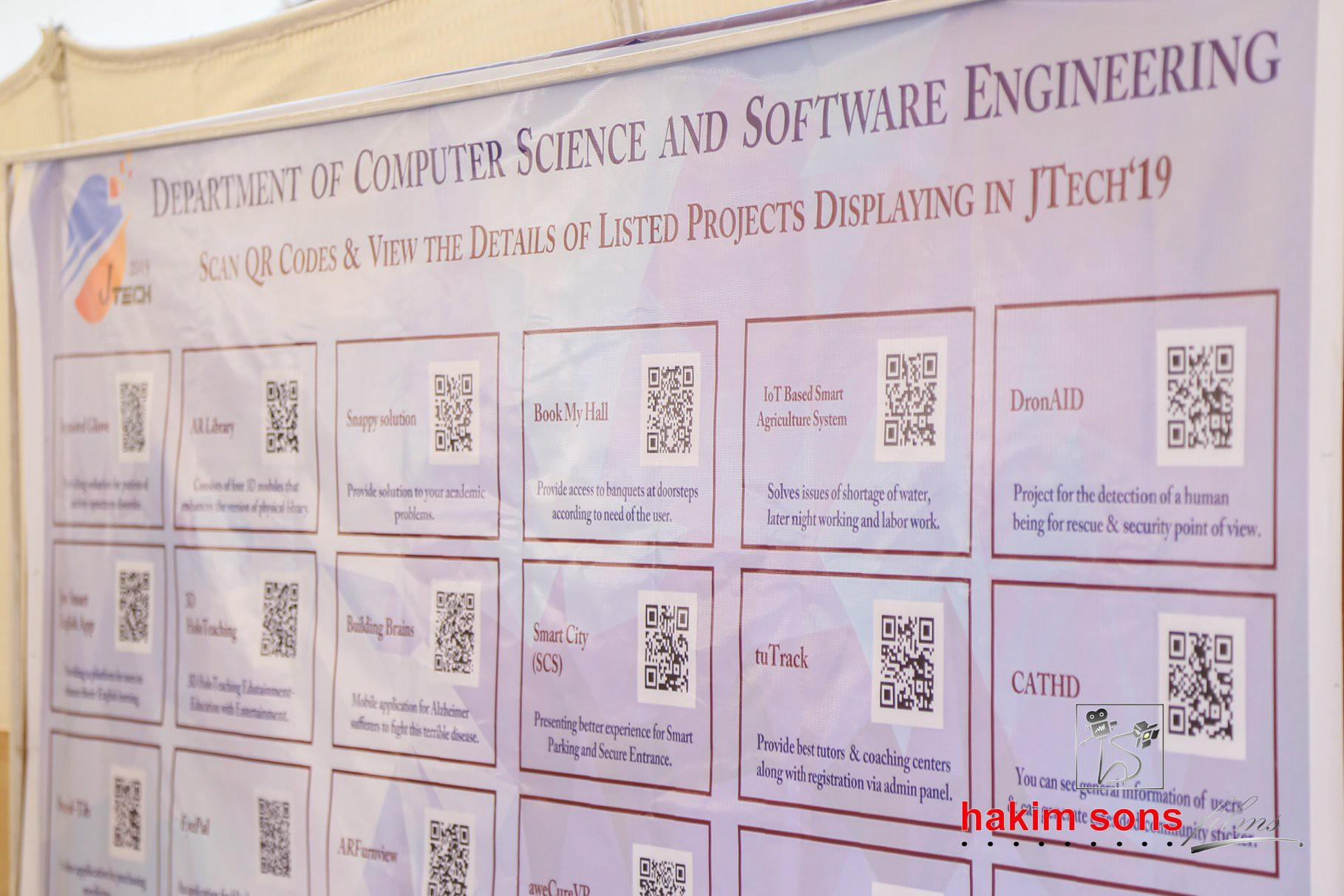 A greeting wall for JTech'19 and QR codes for details of all projects