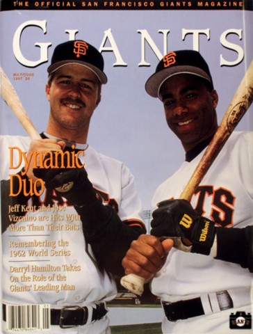 Dynamic Duo, jeff kent, jose vizcaino, 1997, giants magazine