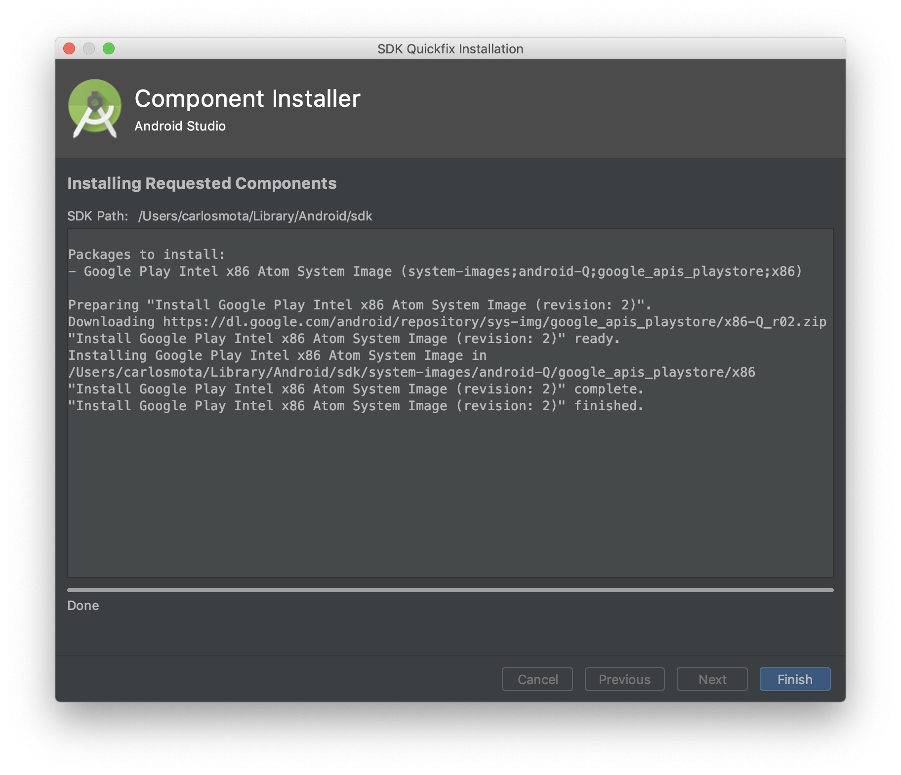 Android Studio installing Android Q Preview