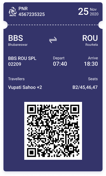 A ticket view containing journey details and QR Code