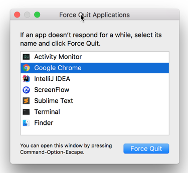 Force Quit Applications on Mac