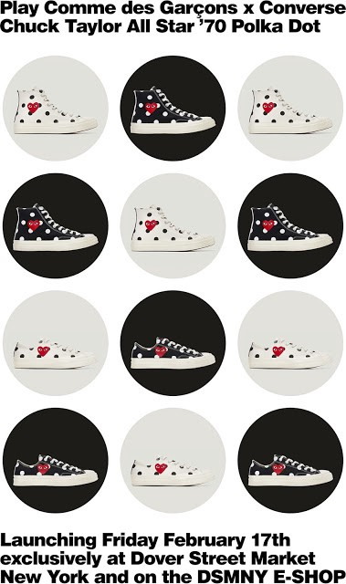 ... and whimsical with polka dots  Play Commes des Garçons and Converse are  releasing a four new versions to their cheeky collaboration. The Chuck  Taylor ... fbee4838066c6