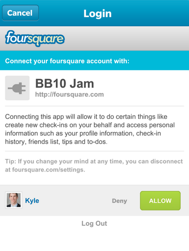 bb10 on Foursquare app