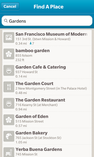 Foursquare app search