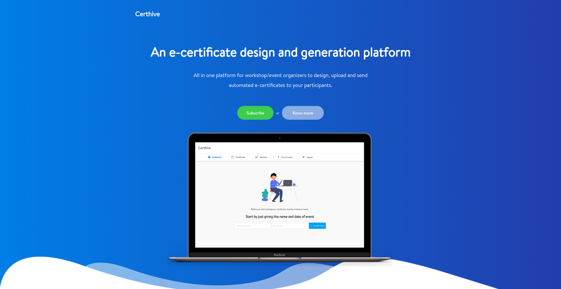 Certhive current landing page