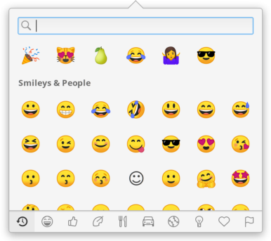 New emoji entry including recently-used, categories, and search