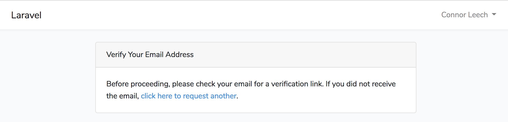 Landing page if user has not verified their email.