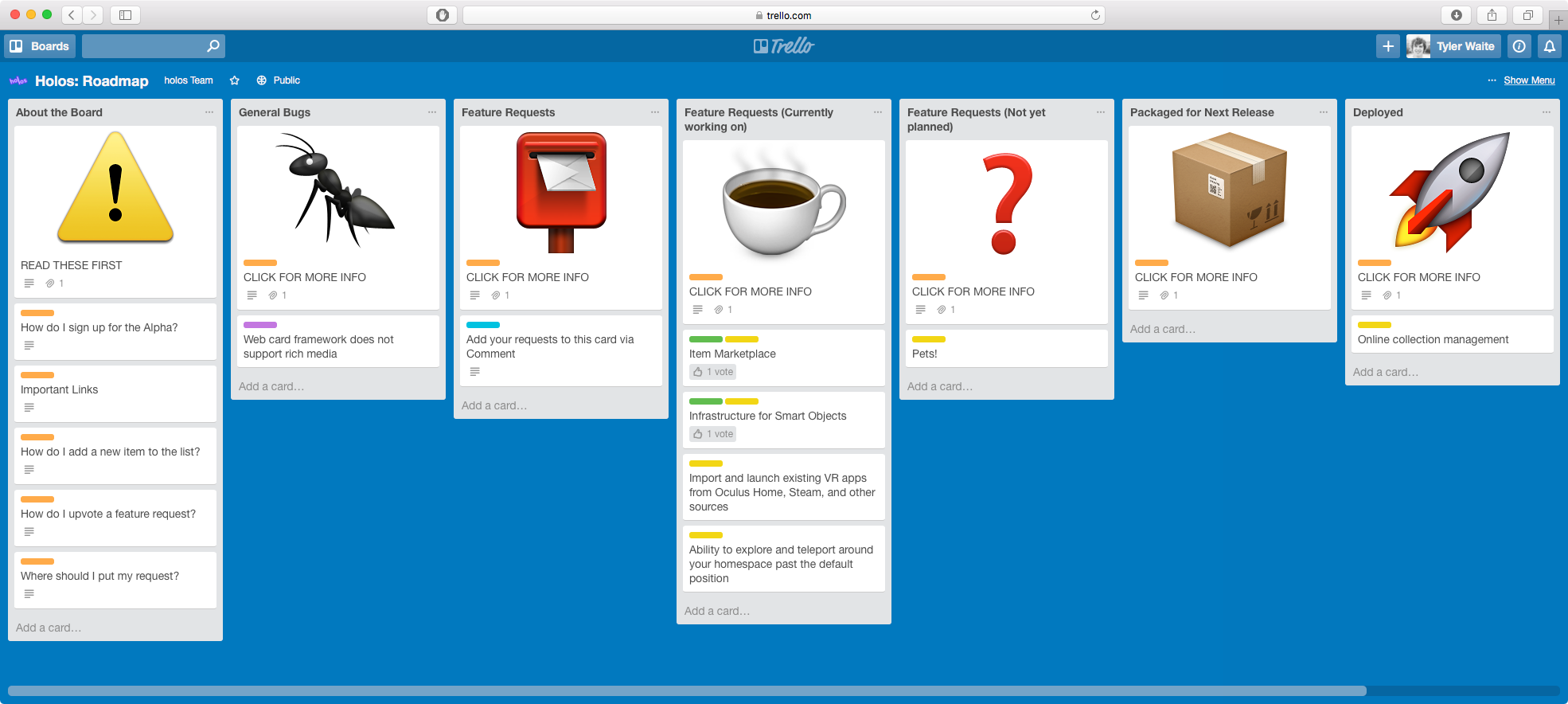 Our Trello board, all neat and tidy! Click on it to add your feature request.