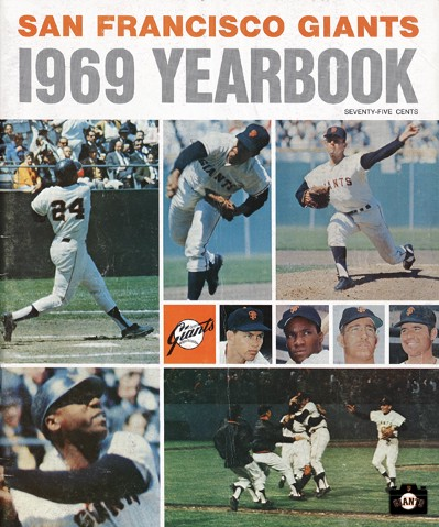 1969, willie mays, gaylord perry, bobby bonds, juan marichal, willie mccovey,sf giants yearbook, magazine, scorecard, baseball, 1969,