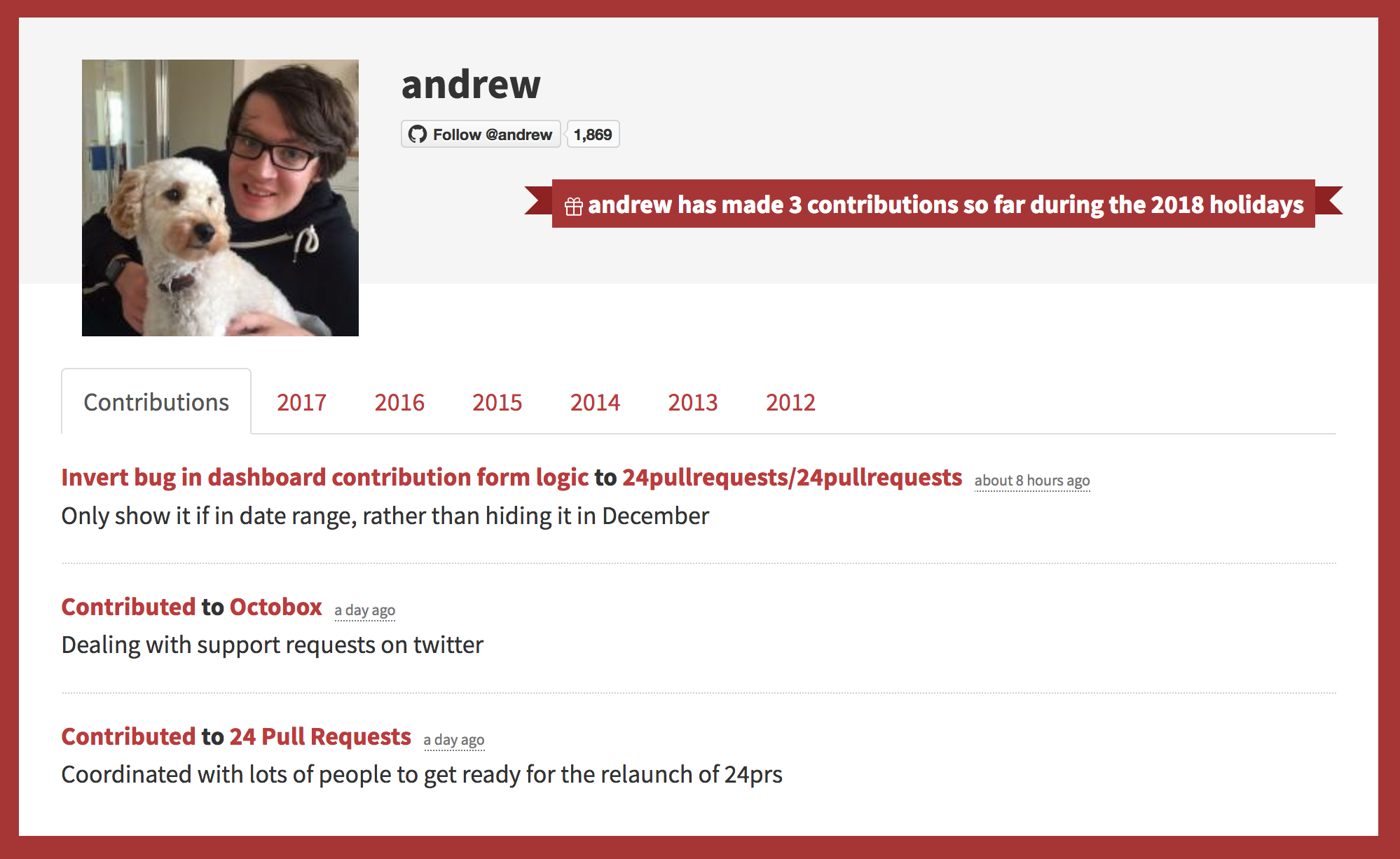 User profile page showing a mix of pull requests and non-pull request contributions
