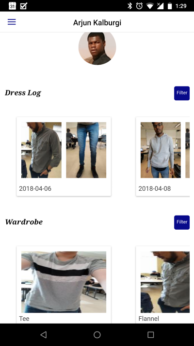 Left to Right: Home screen, Client's recommended outfits, Stylist's client details