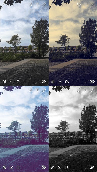 The different snapchat filters used on a photo