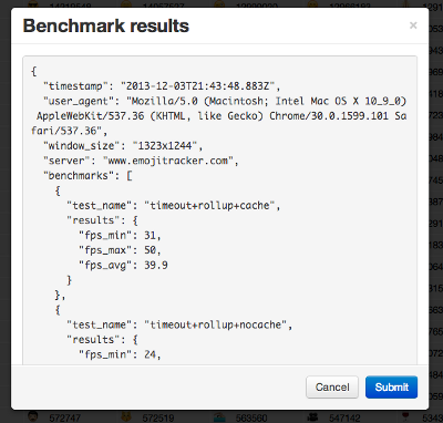 benchmark results as json blob