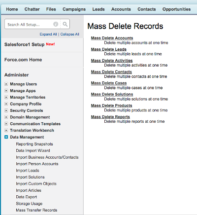 how to delete records using workbench in salesforce