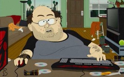 Lonely gamer playing with people online. Credit: South Park
