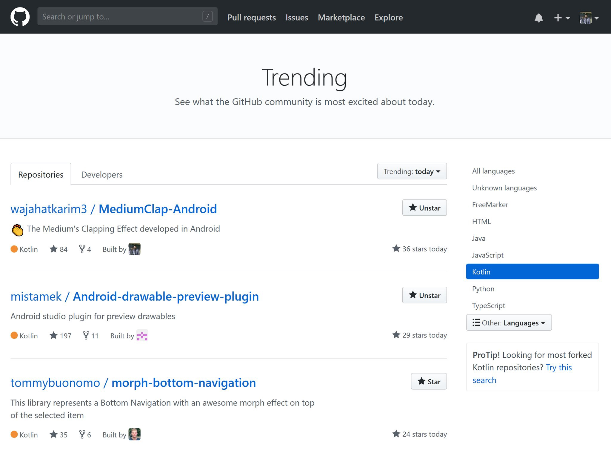 MediumClap-Android is on #1 on GitHub Trending in Kotlin Language