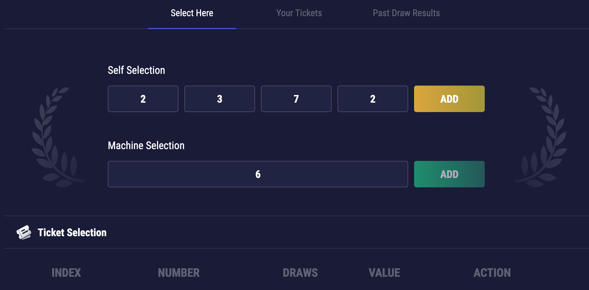 Ticket selection area