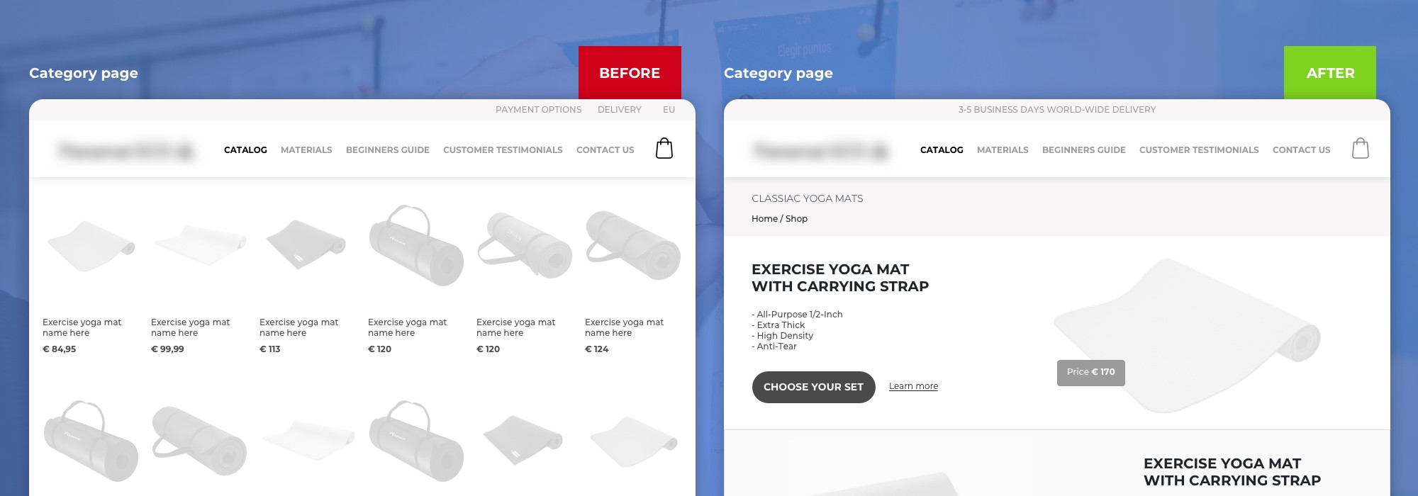 Wireframe of redesigned Category Page