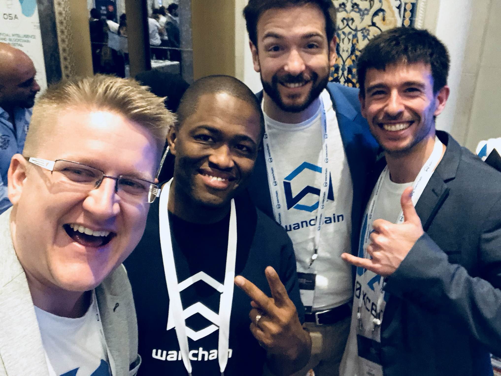 Our 0xcert team with Dustin Byington and Entiënne vantKruys from Wanchain