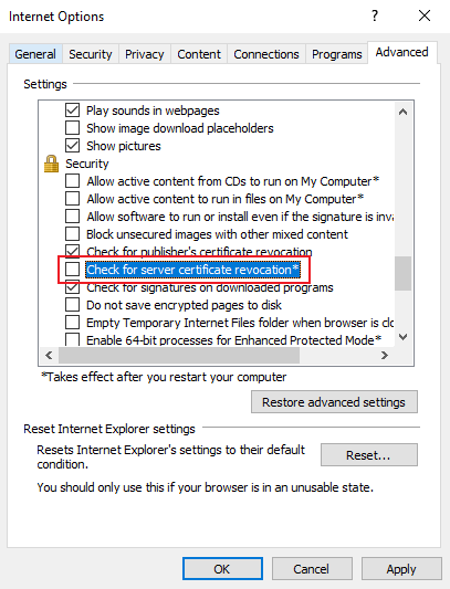 Fix Revocation information for the security certificate for this ...