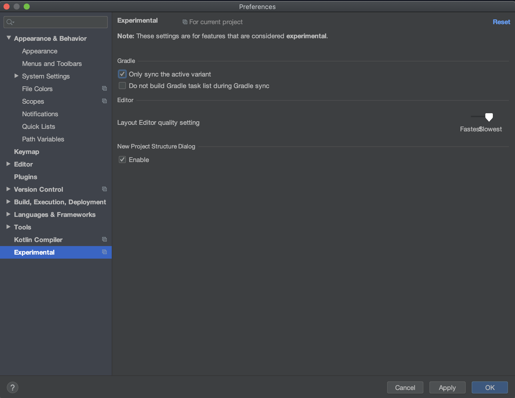 "Android Studio ""Only sync the active variant"" setting from Experimental preference"