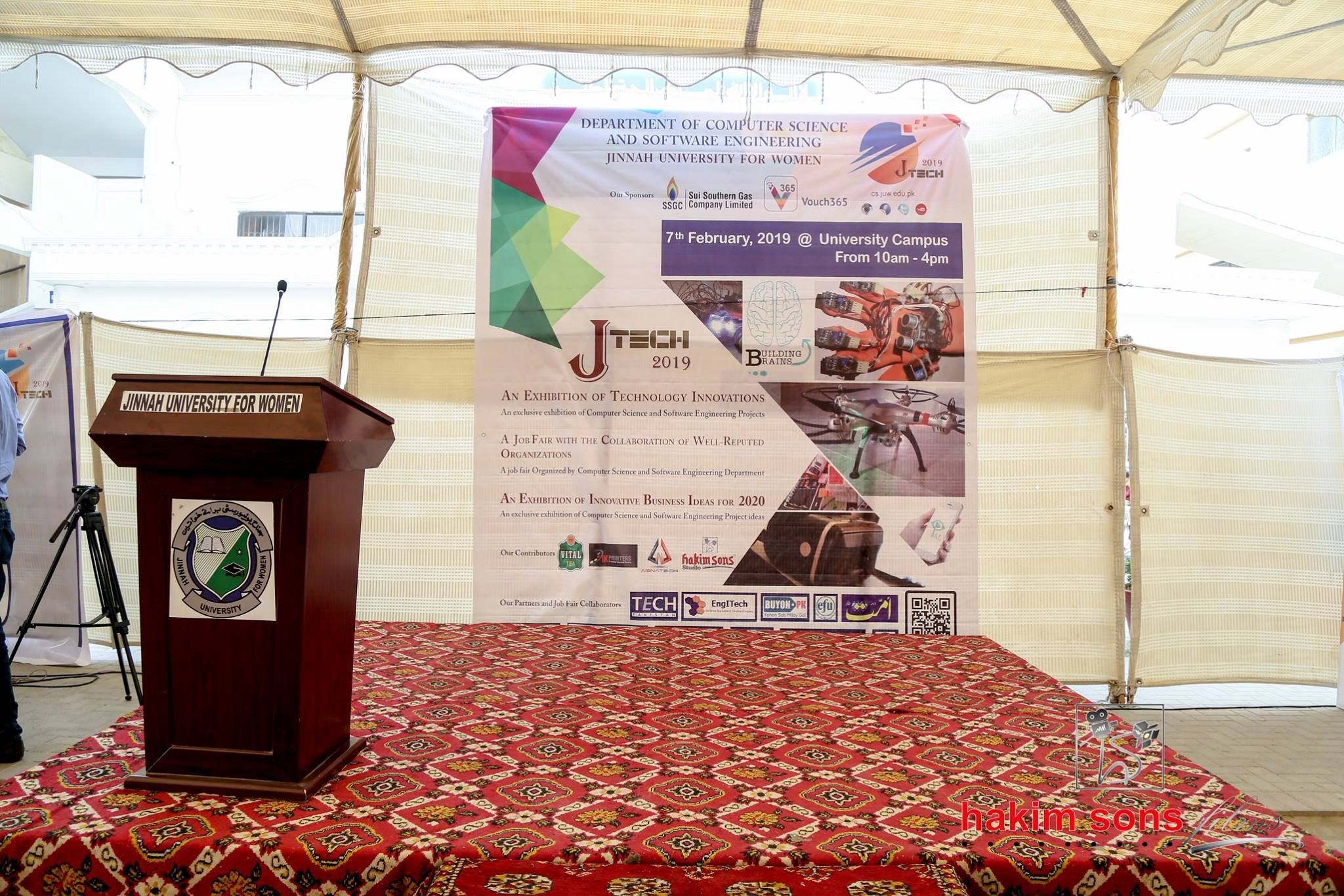 Stage and Podium for JTech 2019 at Jinnah University for Women (JUW), Karachi